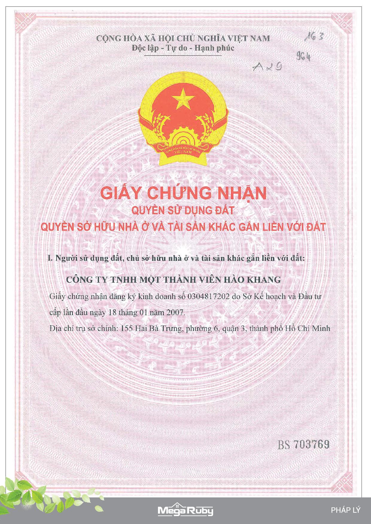 pháp lý dự án mega ruby khang điền