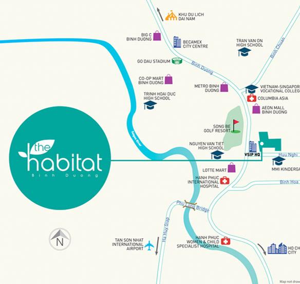 The Habitat nằm ngay cửa chính Khu công nghiệp VSIP 1, nơi tập trung nhiều chuyên gia trong và ngoài nước, với cộng đồng dân trí cao, đa văn hoá.     The Habitat gần các tiện ích hiện hữu như: trung tâm thương mại, siêu thị, bệnh viện, trường học, sân golf, khu du lịch, trung tâm hội nghị.     Dự án cũng có diện tích cảnh quan và tiện ích công cộng rộng lớn với khối Podium rộng 2,000 m2 ở tầng 3, vườn dốc, công viên nội khu, sân chơi trẻ em.     Tiện ích nội khu tại The Habitat đầy đủ và đẳng cấp: Hồ bơi, khu thể thao đa năng trong nhà (Club House), sân tennis, khu vực BBQ, khu vực sinh hoạt cộng đồng, sân chơi trẻ em, công viên nội khu, hồ cảnh quan.     Cộng đồng dân trí cao, đa văn hoá: Các chuyên gia trong và ngoài nước làm việc tại VSIP và các khu vực lân cận.     The Habitat-vi-tri  Vị trí dự án     Từ dự án có thể dễ dàng kết nối đến:     – AEON Mall Bình Dương: 03 phút di chuyển;    – Lotte Mart Bình Dương: 07 phút di chuyển;    – Metro Bình Dương: 15 phút di chuyển;    – Bệnh viện Quốc tế Miền Đông: 05 phút di chuyển;    – Bệnh viện Quốc tế Hạnh Phúc: 10 phút di chuyển;    – Trường trung học Nguyễn Văn Tiết: 05 phút di chuyển;    – Sân Golf Sông Bé: 02 phút di chuyển;    – Quận 1 – TP. HCM: 20 phút di chuyển;    – Sân bay Tân Sơn Nhất: 45 phút di chuyển.